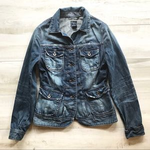 Lucky Brand Distressed Faded Denim Jean Jacket